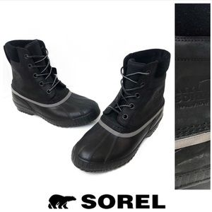 Sorel Black Leather Rubber Waterproof Snow Boots